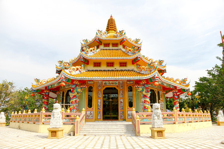 Chinese temple in Thailand under the blue sky. Shrine Building