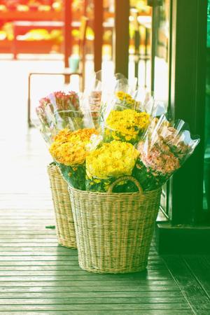 Several bundles of flowers for sale. Spring meadow flowers. Stok Fotoğraf - 118194372