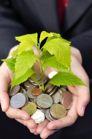 charitable: Business women hands with tree growing from pile of baht coins