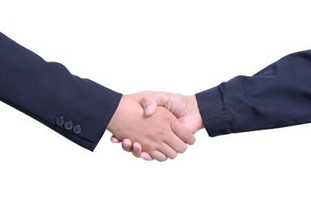 Isolate of business man and worker handshake