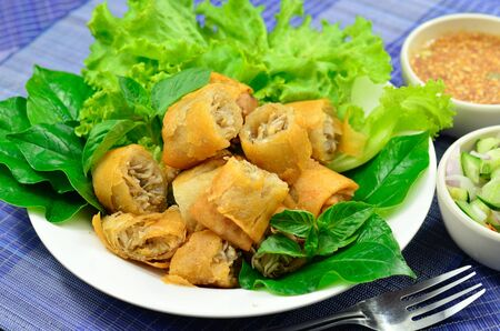 rice paper: Springrolls traditional fried appetizer Vietnam cuisine