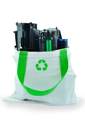 Used laser printer toner in a recycle bag