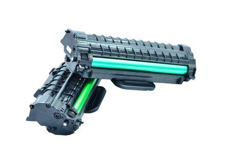 toner: Cartridge for laser printer on white background