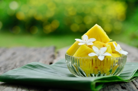 Pineapple slice and flower at home garden photo