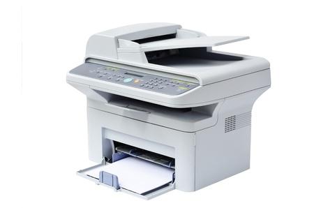 Grijze computerprinter geïsoleerd Stockfoto - 14243498