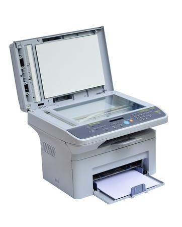 fotocopiadora: Impresora gris ordenador y el escáner aislados
