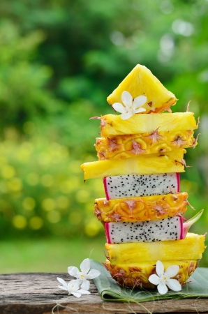 Tower of pineapple and dragon fruit slide  photo