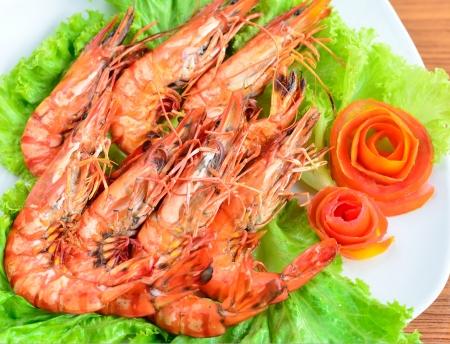 Fresh grilled shrimps photo