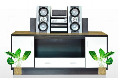Modern furniture and sound system for home decoration photo
