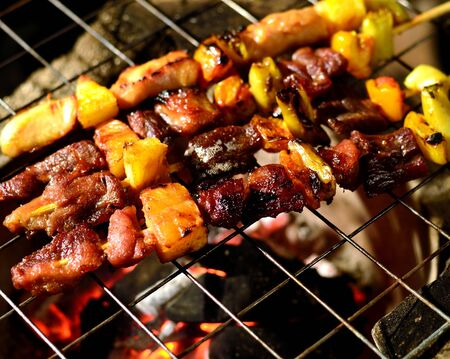 kabob: BBQ grill with hot flames