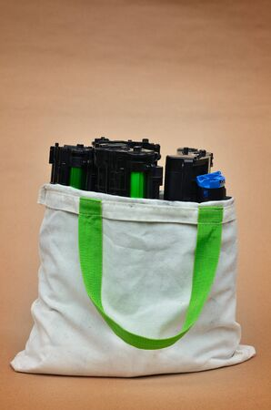 Toner in shopping bag Stock Photo