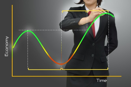 curvas: Mujer de negocios en el ciclo de presentaciones econ�mico