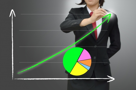Business woman drawing growing graph photo