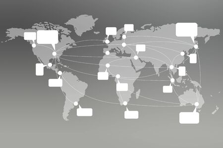 Gray world map with social network concept Stock Photo - 15589800