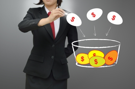 growing money: Business woman drawing investor concept