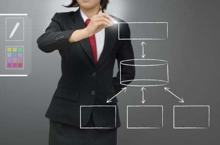 ess: Business woman drawing database concept diagram