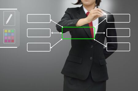 black business woman: Business woman drawing data flow concept diagram Stock Photo