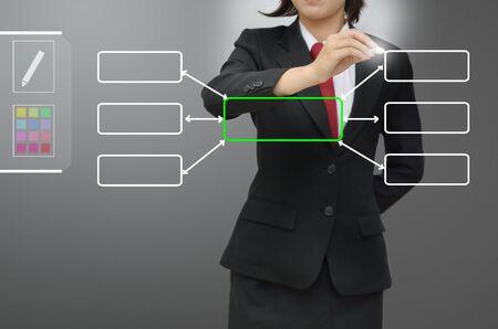 femme dessin: Femme d'affaires data concept dessin diagramme