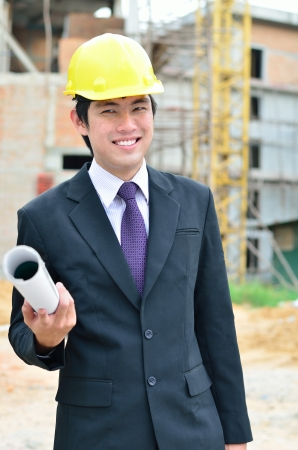 asian architect: engineer is working on a construction area Stock Photo
