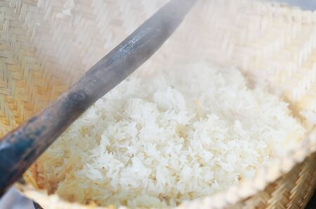 original rice cooking with steamed in asian countryside Stock Photo - 16516758