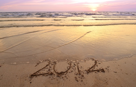Countdown to new year (2012 to 2013) with sea and sunset photo
