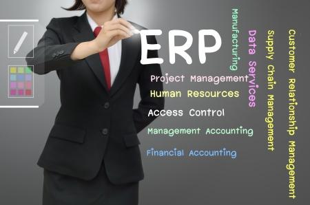 財源: エンタープライズ リソース プランニング ERP を書くビジネス女性