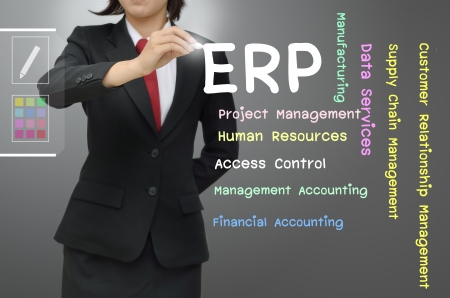 business backgound: Business woman writing Enterprise resource planning  ERP