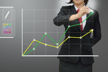 Close up Business woman drawing growing green graph Stockfoto