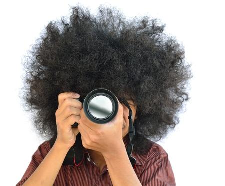 gente loca: el hombre con el pelo largo y la celebración de cámara digital Foto de archivo