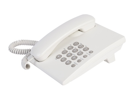 White office telephone isolated