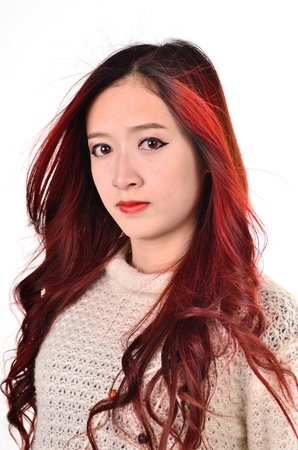 Asian women with red color long hair in modern lifestyle fashion photo
