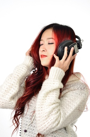 Asian women with red color long hair listening photo