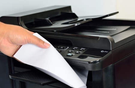 Close up multifunction printer  Focus on button