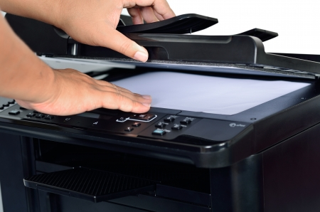 multifunction printer with scanning by worker Stock Photo