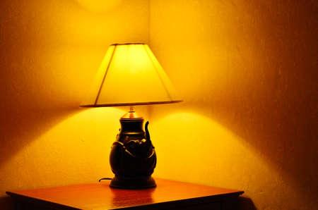 Lamp warm lightign in bedroom photo