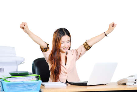 1 person: Close up beautiful young asian businesswomen smiling with computer notebook Stock Photo