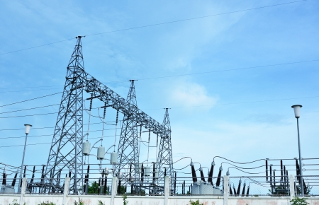 electricity station landscape over blue sky