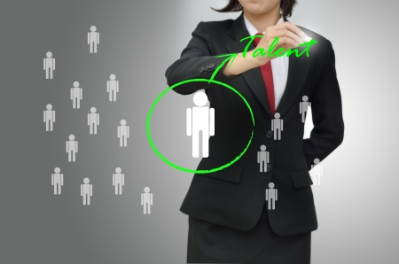 human resource management: Business woman selected person talented Stock Photo