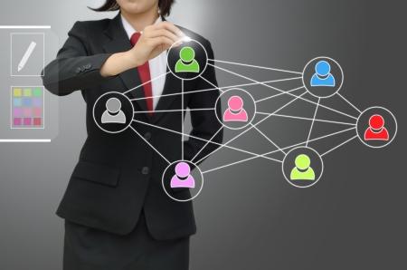 precedence: business woman writing precedence diagram over gray backgound