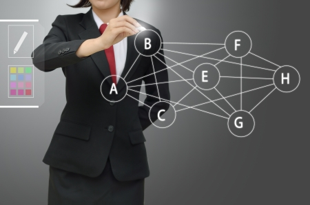 business woman writing precedence diagram over gray backgound