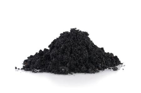 Burning rice husk pile isolated Stockfoto