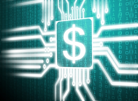 cash flows: 3d circuit dollar symbol on central processor unit
