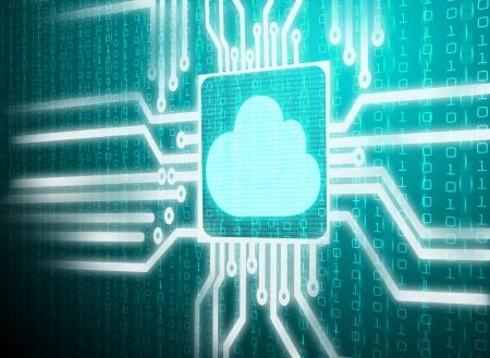 data matrix: 3d lcd screen matrix circuit of cloud symbol