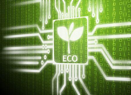seeding: 3d lcd screen matrix circuit of eco symbol Stock Photo