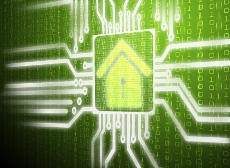 computer chip: 3d lcd screen matrix circuit of home symbol Stock Photo