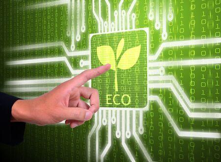 3d lcd screen matrix circuit of eco symbol Stock Photo - 22124266