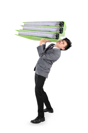 Businessman have big folder document in hard working concept over white background
