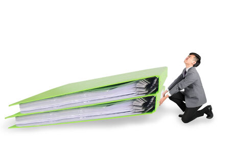 Businessman have big folder document in hard working concept over white background photo