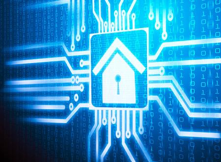3d lcd screen matrix circuit of home symbol Imagens