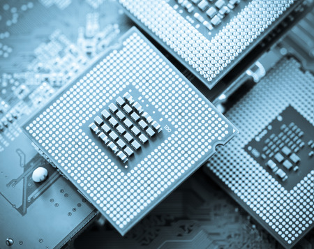 mainboard: computer cpu  central processor unit  chip on mainboard close up